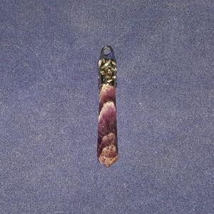 Jewelry - Silver-tone Long Purple Marble Pendant
